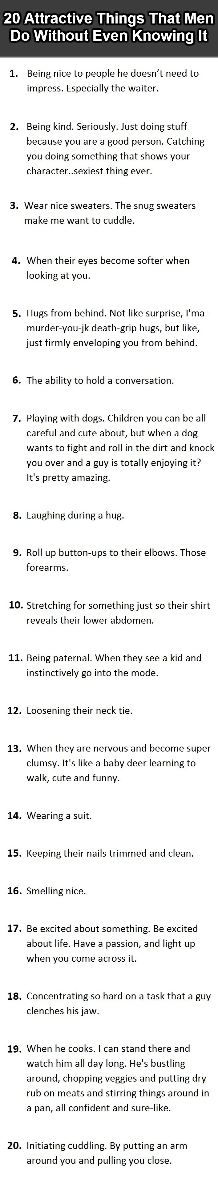20 attractive things men do